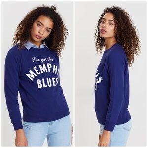 {J Crew} I've Got Memphis Blues Crew Sweatshirt